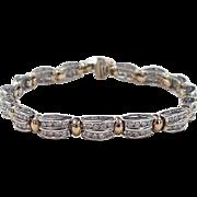 Vintage 10k Gold Two-Tone 1.92 ctw Diamond Bracelet