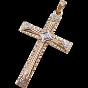 Vintage 10k Gold Two-Tone Diamond Cross Pendant