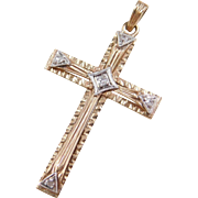 Vintage 10k Gold Two-Tone Diamond Cross Pendant