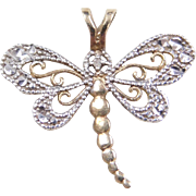 Vintage 10k Gold Two-Tone Dragonfly Charm with Diamond Accent