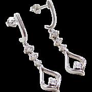 Vintage 10k White Gold Diamond Dangle Earrings