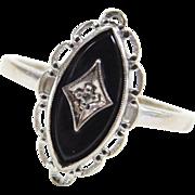 Vintage 10k White Gold Onyx and Diamond Ring