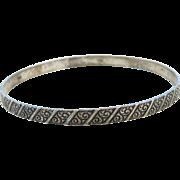 "1960's Sterling Silver Swirl Detailed Bangle Bracelet ~ 7.85"" Circumference"