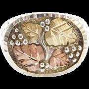GENTS Vintage Sterling Silver & 12k Black Hills Leaf Ring Tri-Color