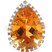 BIG Stunning 14k Gold Two-Tone 11.02 ctw Citrine and Diamond Ring