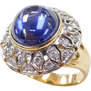 Vintage 18k Gold Two-Tone 11.28 Faux Sapphire and Faux Diamond Ring