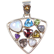 Sterling Silver Colorful Gemstone Pendant