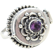 Sterling Silver Amethyst Poison Ring