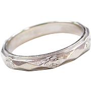 Art Deco 14k White Gold Men's Floral Wedding Band Ring
