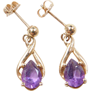 Vintage 14k Gold 1.30 ctw Amethyst Earrings