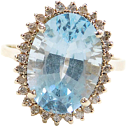 Vintage 14k Gold 7.85 ctw Blue Topaz and Diamond Halo Ring
