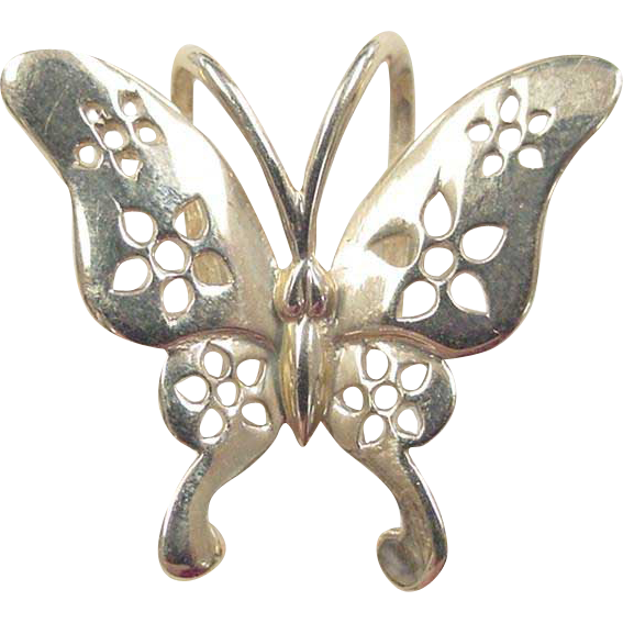 vintage 14k gold butterfly charm pendant from
