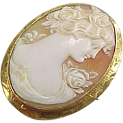 Vintage 14k Gold Carved Shell Cameo Pin / Brooch