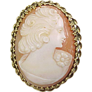 Vintage 14k Gold Carved Shell Cameo Pendant / Pin