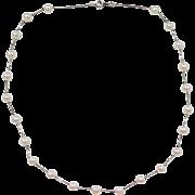 "Vintage 14k White Gold Cultured Pearl Station Necklace ~ 17"""