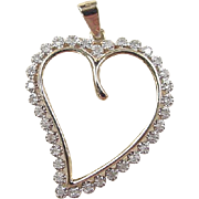 Vintage 14k Gold  .17 ctw Two-Tone Diamond Heart Pendant