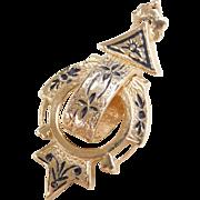 Victorian 14k Gold Enamel Pendant