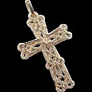 Vintage 14k Gold Filigree Cross Pendant / Charm