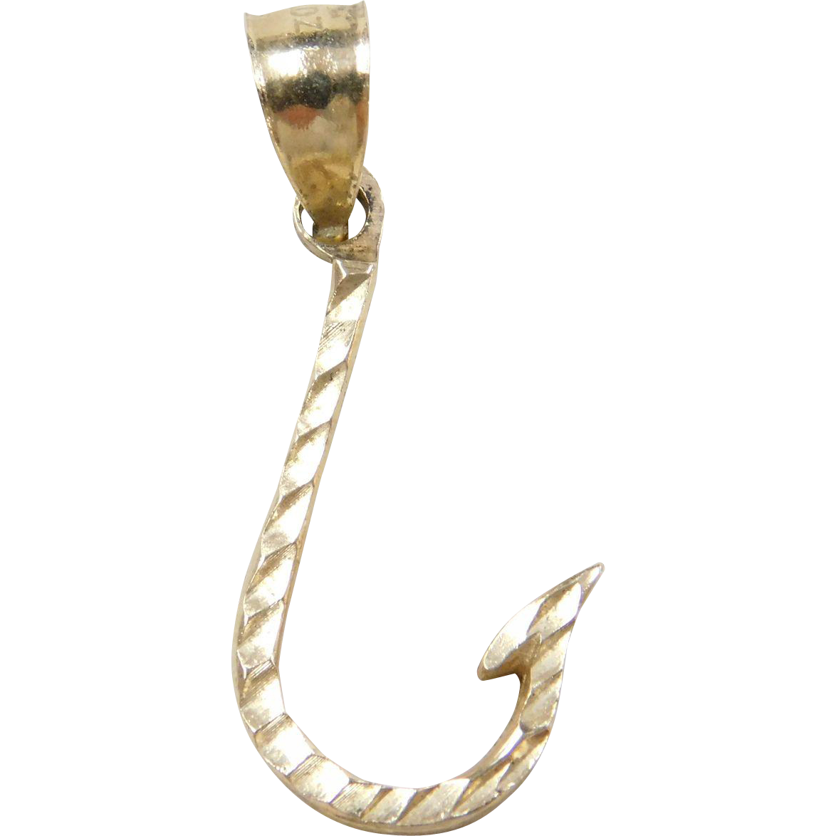 Vintage 14k gold fish hook charm arnold jewelers ruby lane for Gold fish hook necklace