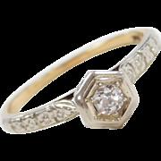 Art Deco 14k Gold Two-Tone .10 Carat Diamond Engagement Ring ~ Flower Details