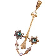 Victorian 14k Gold Emerald and Diamond Pendant