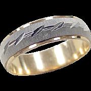 Vintage 14k Gold Two-Tone Men's Wedding Band Ring