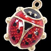 Vintage 14k Gold Enamel Ladybug Charm