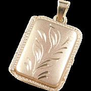 Vintage 14k Gold Rectangle Locket Pendant