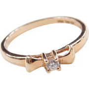 Vintage 14k Rose Gold Faux Diamond Bow Ring