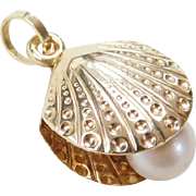 Vintage 14k Gold Shell Charm with Cultured Pearl