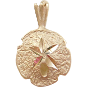 Vintage 14k Gold Small Sand Dollar Charm