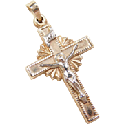 Vintage 14k Gold Two-Tone Crucifix Cross Pendant