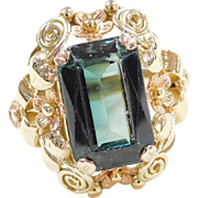 Retro 14k Gold Two-Tone Flower Setting Green Spinel Ring
