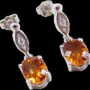 Vintage 14k White Gold 2.54 ctw Citrine and Diamond Earrings
