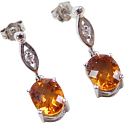 Vintage 14k White Gold 2.54 ctw Citrine and Diamond Earrings