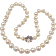 Beautiful 14k White Gold Graduated Cultured Pearl Necklace ~ Diamond Accented Clasp