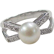 Vintage 14k White Gold Cultured Pearl and Diamond Ring