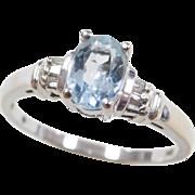 Vintage 14k White Gold .79 ctw Aquamarine and Diamond Ring