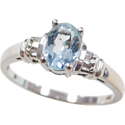 Vintage 14k White Gold .79 ctw Aquamarine and Diamond Ring