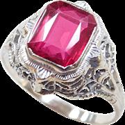 Art Deco 14k White Gold 1.80 Carat Ruby Ring