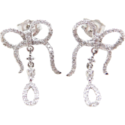 Vintage 14k White Gold Diamond Bow Earrings