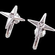 Vintage 14k White Gold Diamond Earrings