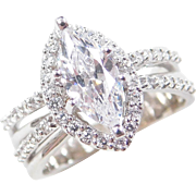 Vintage 14k White Gold 1.44 ctw Faux Diamond Ring
