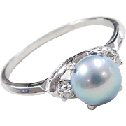 Vintage 14k White Gold Light Blue Cultured Pearl and Diamond Ring