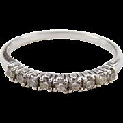 Vintage 14k White Gold .14 ctw Diamond Wedding Band Ring