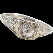 Art Deco 18k White Gold .40 Carat Diamond Filigree Engagement Ring