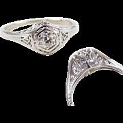 Art Deco 14k White Gold .18 Carat Diamond Filigree Engagement Ring