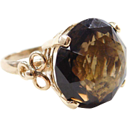 Vintage 14k Gold 16.70 Carat Smoky Quartz Ring