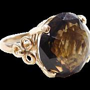Vintage 14k Gold 16.70 Carat Smoky Quartz Ring