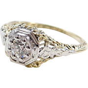 Filigree and Flower Art Deco 14k Two-Tone Diamond Engagement Ring